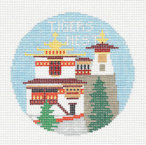 Travel Round~Tigers Nest Monastery in Butan handpainted Needlepoint Canvas~by Kathy Schenkel**MAY NEED TO BE SPECIAL ORDERED**