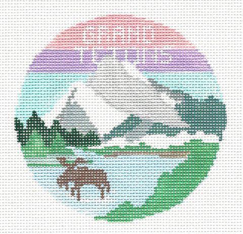 Travel Round~Grand Teton Mountains Wyoming handpainted Needlepoint Canvas~by Kathy Schenkel**MAY NEED TO BE SPECIAL ORDERED**