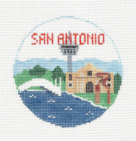Travel Round~San Antonio Texas handpainted Needlepoint Canvas~by Kathy Schenkel**MAY NEED TO BE SPECIAL ORDERED**