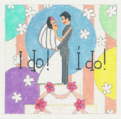 Canvas~I Do! I Do! Wedding Couple handpainted Needlepoint Canvas by Raymond Crawford