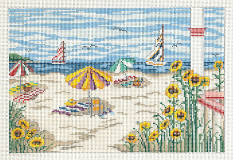 Canvas~Tranquil Summer Beach Scene handpainted Needlepoint Canvas~by Needle Crossings