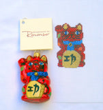 Beckoning Cat Asian Canvas & Glass Ornament Set