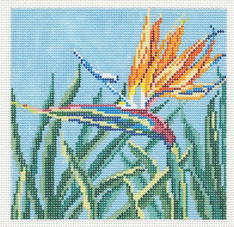 Canvas~Bird of Paradise Flower handpainted Needlepoint Canvas~by Needle Crossings
