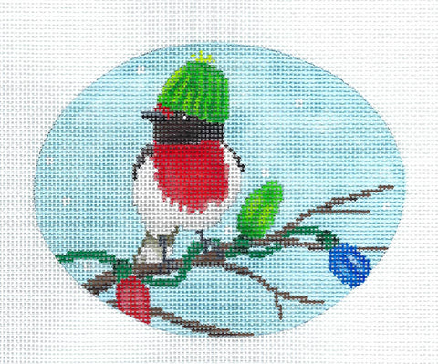 Bird in Hat with Christmas Lights Ornament  Hand Painted Needlepoint Canvas by Scott Church