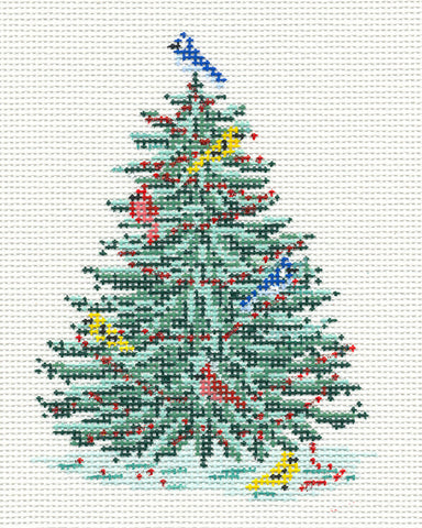 Canvas~ Christmas Woodland Birds Tree handpainted Needlepoint Canvas~by Needle Crossings