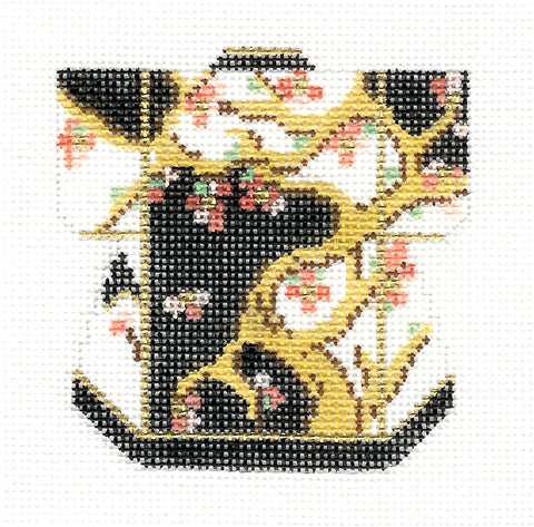Kimono~Petite Black & Gold with Blossoms handpainted Needlepoint Canvas