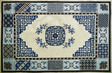 Rug~Blue & White Asian Pattern Oriental Rug Handpainted by LEE Needle Art 12M