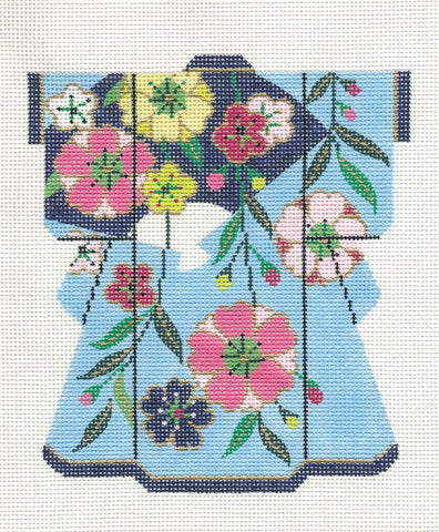 "Kimono~ *Exclusive* LEE Blue Floral Medium Kimono handpainted Needlepoint Canvas 5""x 6"""