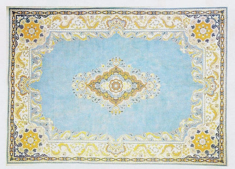 Rug~Blue & Terra Cotta Oriental Medallion Design Handpainted by LEE Needle Art