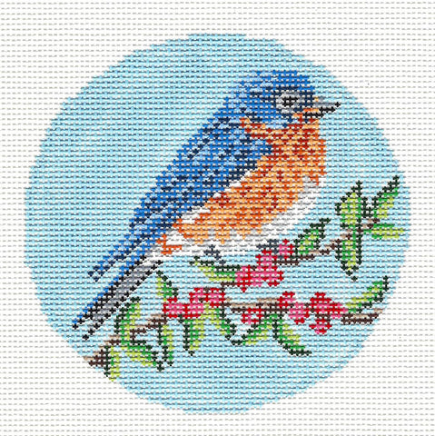 "Round~Elegant Bluebird 4"" Round Ornament handpainted Needlepoint Canvas by Needle Crossings"