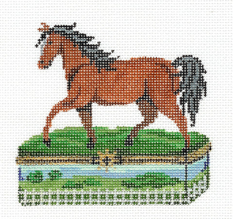 Porcelain Box~Bay Horse handpainted Needlepoint Canvas by Patti Mann