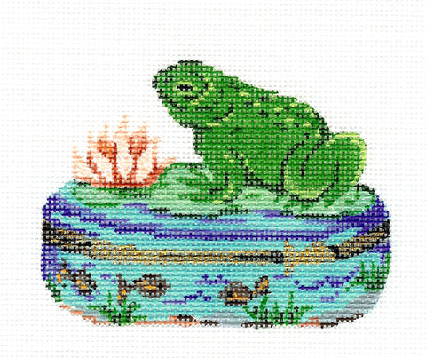 Porcelain Box~Frog & Lotus Flower handpainted Needlepoint Canvas by Patti Mann