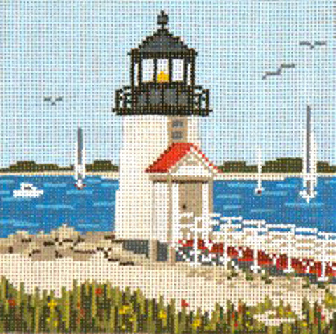"Canvas~Nantucket Brant Point Lighthouse handpainted 18 mesh 5"" Sq. Needlepoint Canvas by Needle Crossings"