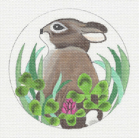 Canvas~Bunny in Clover handpainted Needlepoint Canvas~by Susan Roberts