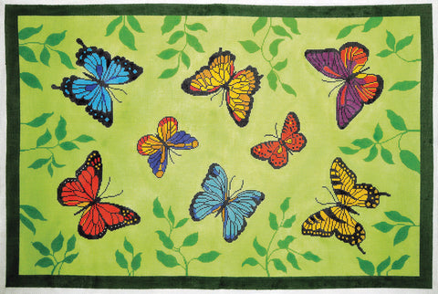 Rug~Butterfly Friends in a Garden Rug Handpainted by LEE Needle Art on 12 Mesh