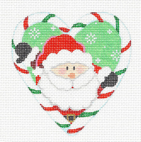 Heart~Santa in Candy Cane Heart-18 Mesh handpainted Needlepoint Canvas~by Pepperberry