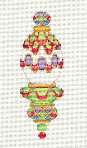 Ornament~Ribbon Swag ornament multi-colored hand painted on Needlepoint Canvas~ by Strictly Christmas