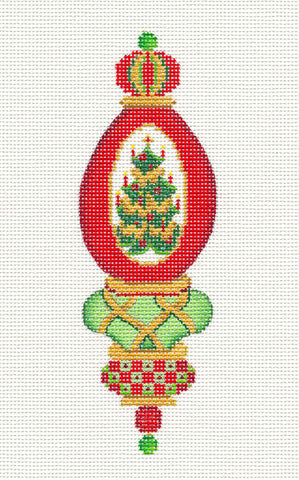 Christmas Tree Green and Red Ornament handpainted Needlepoint Canvas by Strictly Christmas