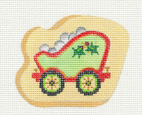 Train~Coal Car With Holly on hand painted Needlepoint Canvas~ by Strictly Christmas