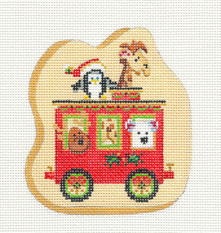 Train~Car With Animals on hand painted Needlepoint Canvas~by Strictly Christmas