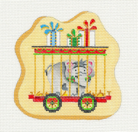 Train~Car With Elephant on hand painted Needlepoint Canvas~ by Strictly Christmas