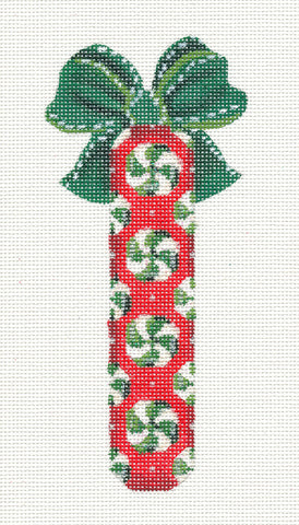Candy Stick ~ Wintergreen Candy Mints on a stick handpainted Needlepoint Canvas by Kelly Clark