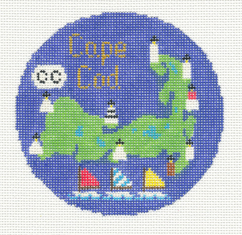 "Round~4.25"" Cape Cod MA handpainted Needlepoint Canvas~by Silver Needle"