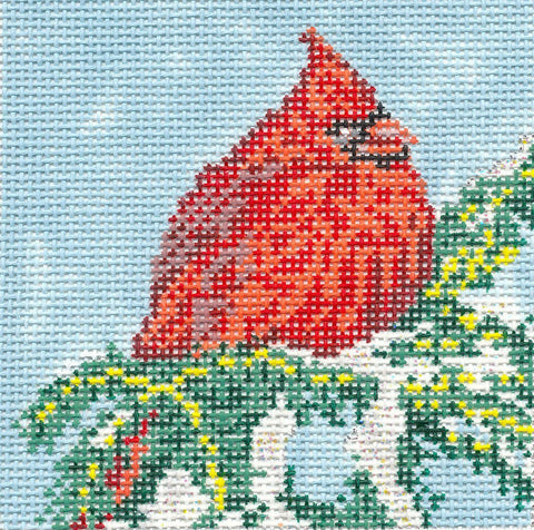 Canvas~Christmas Red Cardinal Bird handpainted 18m Needlepoint Canvas~by Needle Crossings