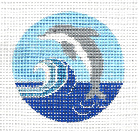 Round-Dolphin in Wave Ornament on Handpainted Needlepoint Canvas by Danji Designs