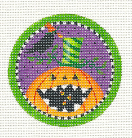 Halloween Pumpkin and Crow Ornament on Handpainted Needlepoint Canvas