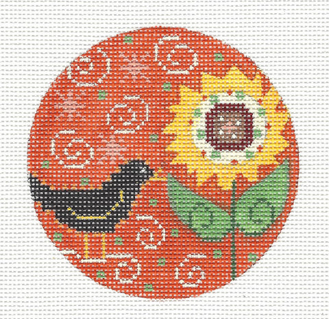 Round-Black Crow and Sunflower Ornament on Handpainted Needlepoint Canvas