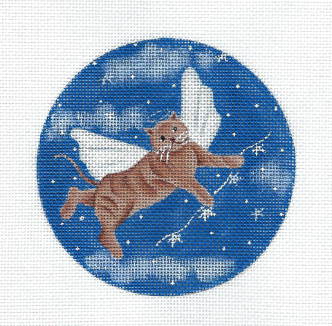 Rainbow Bridge ~ Angel Cat in Heaven handpainted Needlepoint canvas by Ginny Diezel from CBK