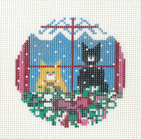 "Round~3"" Two Cats in the Window Ornament 18M handpainted Needlepoint Canvas~by Needle Crossings"