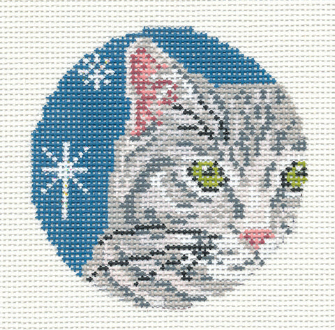 "Round~3"" Gray Tabby Cat Face Ornament handpainted 18 mesh Needlepoint Canvas~by Needle Crossings"