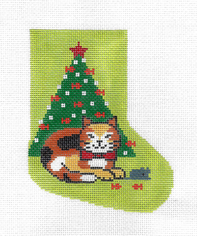 Mini Stocking ~ Calico Kitty, Mouse & Fishy Tree Mini Stocking on HP Needlepoint Canvas Ornament by Lee **RETIRED**