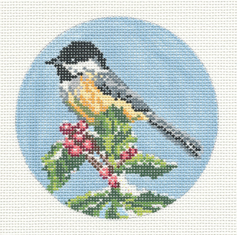 "Round~4"" Chickadee Bird Ornament handpainted Needlepoint Canvas~by Needle Crossings"