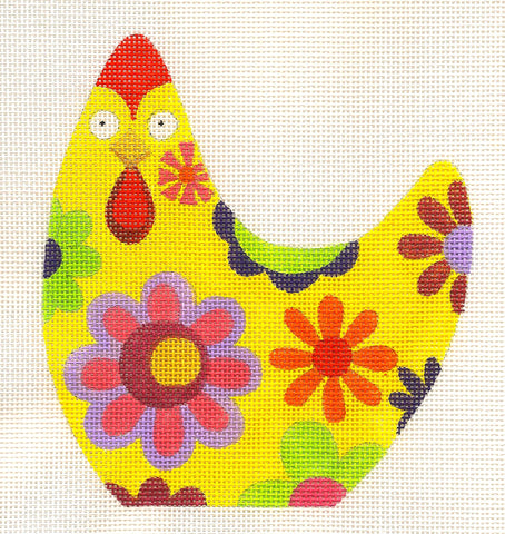 Canvas~Hen Yellow Flower handpainted Needlepoint Canvas by Raymond Crawford