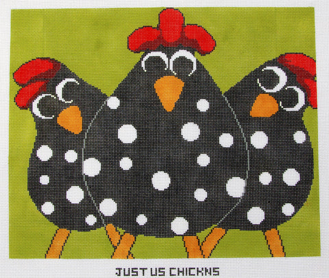Canvas~Just Us Chickens! handpainted Needlepoint Canvas~by Annie Lane