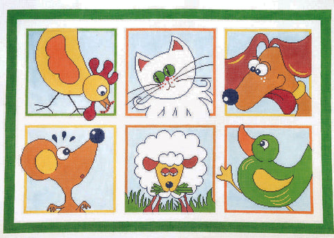 Rug~ Children's Cartoon Animal Rug Handpainted by LEE Needle Art on 12 mesh