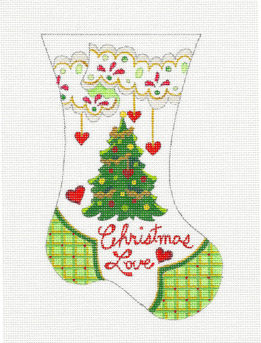 Christmas Love Mini Stocking HP Needlepoint Canvas Ornament by Strictly Christmas