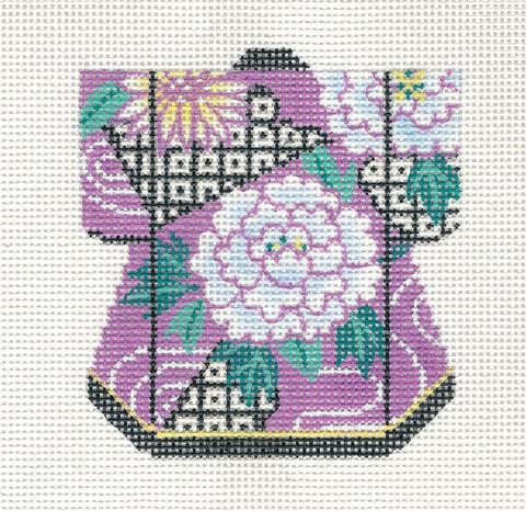 Kimono~Petite Chrysanthemum on Purple handpainted Needlepoint Canvas