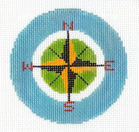 "Round~LEE Travel Compass Rose handpainted Needlepoint Canvas 3"" Rd. Ornament or Insert"