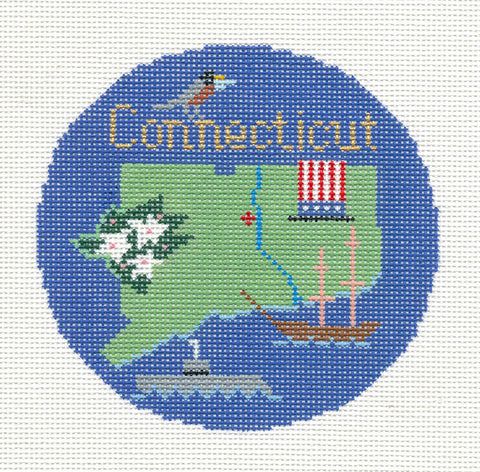 "Round~4.25"" Connecticut handpainted Needlepoint Canvas~by Silver Needle"