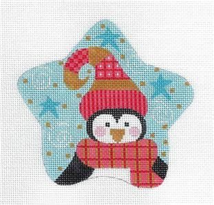 Star~Adorable PENGUIN STAR Ornament handpainted Needlepoint Canvas CH Designs ~ Danji
