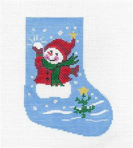 Stocking-Snowman with Snowball & Tree Mini Stocking handpainted Needlepoint Canvas LEE