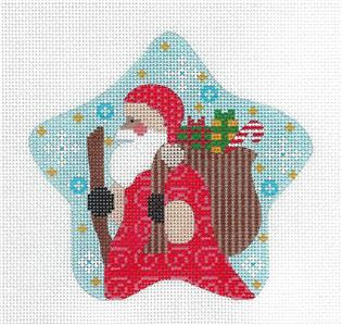 Star-Beautiful SANTA STAR Ornament handpainted Needlepoint Canvas CH Designs ~ Danji