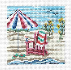 "Canvas~Beach Chair & Umbrella 4"" Sq. handpainted Needlepoint Canvas by Needle Crossings"