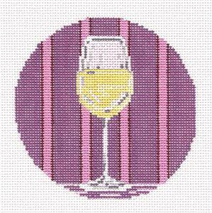 "Round~4"" White Wine Glass Ornament handpainted Needlepoint Canvas~by Needle Crossings"