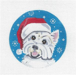 Round~Westie Dog in a Santa Hat handpainted Needlepoint Ornament Canvas by Pepperberry