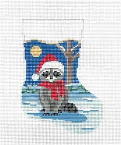 Christmas~Raccoon & Moon Mini Stocking handpainted 13mesh Needlepoint Canvas Susan Roberts